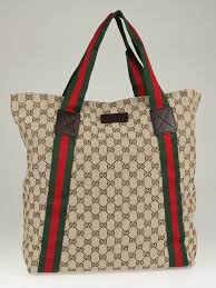 gucci tote. gucci beige/ebony gg canvas vintage web large tote bag