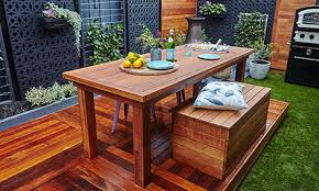 diy outdoor table. Outdoor Table With Drink Coolers Diy