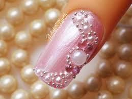 Bridal Wedding Nail Art Design 3D Fusion of Pearls Beads ...