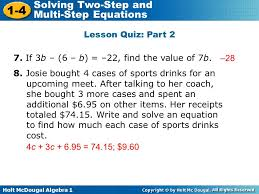 holt mcdougal algebra 1 1 4 solving two step and multi step equations