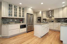 white kitchen cabinets hardwood u shaped design oak cabinet chic painted finish light scenic dark wood floors with