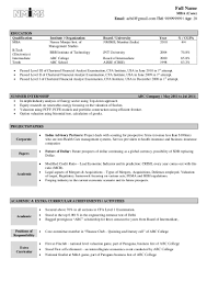 Resume For Mba Fresher In Finance Resume For Your Job Application