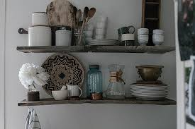 diy open kitchen shelving with reclaimed wood