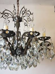12 arm aged brass crystal chandelier rewired c 1900 4 of 11