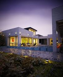Home Designs: White Stone House With Pool - Pools