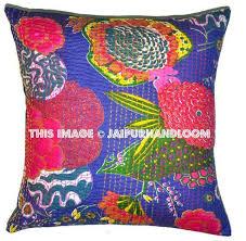 24x24 Blue Kantha Pillow Cover Kantha throw Pillow kantha cushion Co