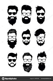 ベクトル ベクトルひげを生やした男性顔別の髪型髭ひげのヒップ