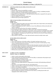 Resume Specialists Bank Operations Specialist Resume Samples Velvet Jobs