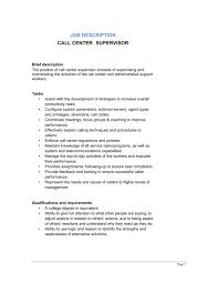 Call Center Supervisor Job Description