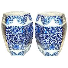 blue and white ceramic garden stool blue ceramic garden seat garden seats a pair of hexagonal porcelain stools garden stool blue and blue ceramic garden