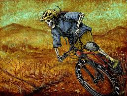 on downhill mountain bike wall art with singletrack by david lozeau day of the dead