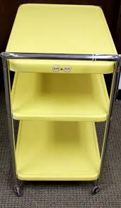 Vintage Metal Kitchen Cart Vintage Three Tier Metal Rolling Yellow Kitchen Utility Bar Cart W