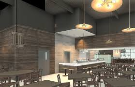 dining and sushi bar area with custom lighting fixtures
