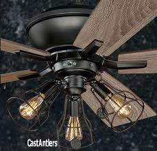 rustic ceiling fan w industrial cage light fans outdoor without lights inch bronze modern with