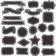 Free素材 手描きのブラックバックリボンやラベルフレームのセット