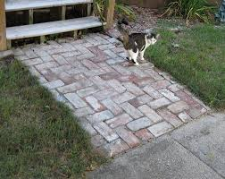 patio pavers with grass in between. Antique Bricks Add A Charming, Victorian Appearance To This Short Walk, But They Don Patio Pavers With Grass In Between