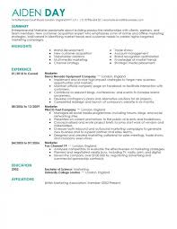 Resume For Marketing Job