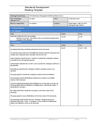 Standards Development Meeting Minutes Template Free Download