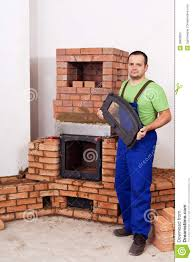 Building A Fireplace Mason Building Fireplace Royalty Free Stock Photography Image