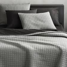 modern white bedding. Contemporary Modern Grid Grey Cotton Jersey FullQueen Quilt On Modern White Bedding