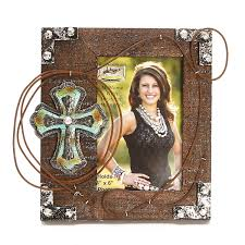 western moments rope and cross photo frame