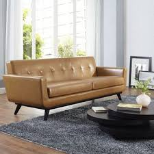 shop for engage tan leather mid century sofa get free shipping at overstockcom bedroomengaging office furniture overstock decorative