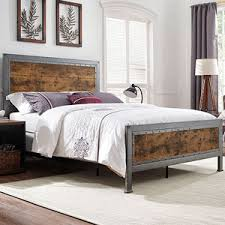 queen platform bed with trundle. Wonderful With Queen Size Industrial Wood And Metal Bed  Brown In Platform With Trundle L