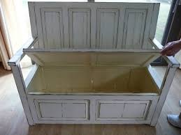 old door bench with storage for the front porch