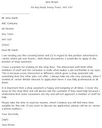 Cover Letter For It Assistant Cover Letter For Shop Assistant Learnist Org