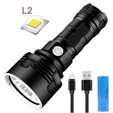 Đèn pin L2 LED có thể sạc lại 3 chế độ Đèn pin lấy nét không thấm nước +  Cáp USB + pin 26650
