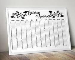 Birthday Anniversary Calendar Guest Book Calendar Etsy