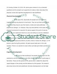 late adulthood interview essay example topics and well written  late adulthood interview essay example