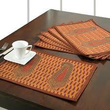 Designer Dining Table Mats Digitally Printed Designer Dining Table Mat Waterproof Set Of 6 Polyester Dupion Faux Silk Dpm06 1