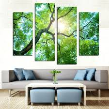 nature wall art nature wall art 4 panel green tree painting canvas wall art picture modern