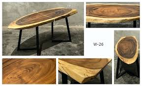 brand new solid walnut wood slab coffee iron stands item notable unique style table top exceptionally