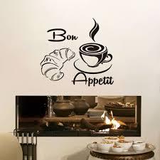 Bon Appetit Koffie Croissant Brood Muurstickers Keuken Restaurants