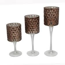 gorgeous brown stained textured tall glass hurricane candle holders design