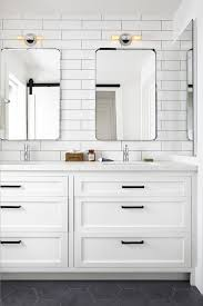 white bathroom vanities with drawers. Fresh All-white Bathroom With Subway Tiled Walls, Recessed Panel Shaker Cabinets And Slate Tile Flooring. White Vanities Drawers C
