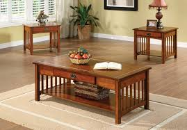 seville mission style oak finish three piece living room table set main image
