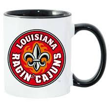 louisiana ragin cajuns black white c handle coffee mug