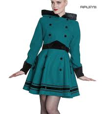 sentinel hell bunny 50s vintage rockabilly winter coat mikaela teal blue green all sizes
