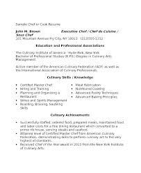 Culinary Resume Examples Extraordinary Example Of Cook Resume Colbroco