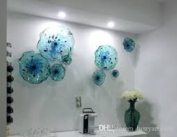 glass plates wall art blue flower plates wall art style blown glass hanging plates wall art