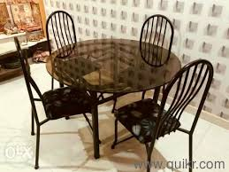classic round glass top table with four chairs dining set brand home office furniture bhilai durg quikrgoods