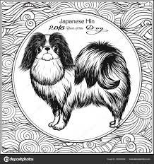 Kleurplaat Met Hond Op Achtergrond Met Traditionele Chinese Patronen