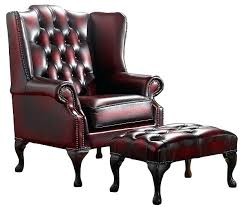 oxblood leather wingback chair leather chesterfield chair