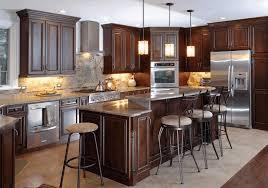 black wood kitchen cabinets polished white cultured marble countertop dark brown wooden kitchen cabinet fancy stainless steel undermound sink