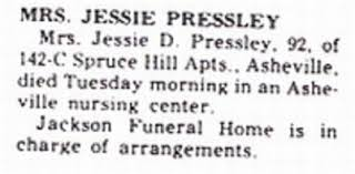 Jessie Drake Pressley Tombstone at Pleasant Hill Cemetery
