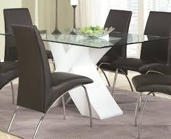 glass top table with white base 120821