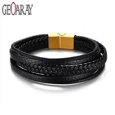 geoaray black braided multi layers leather bracelet rock punk biker charm bracelets bangle stainless steel